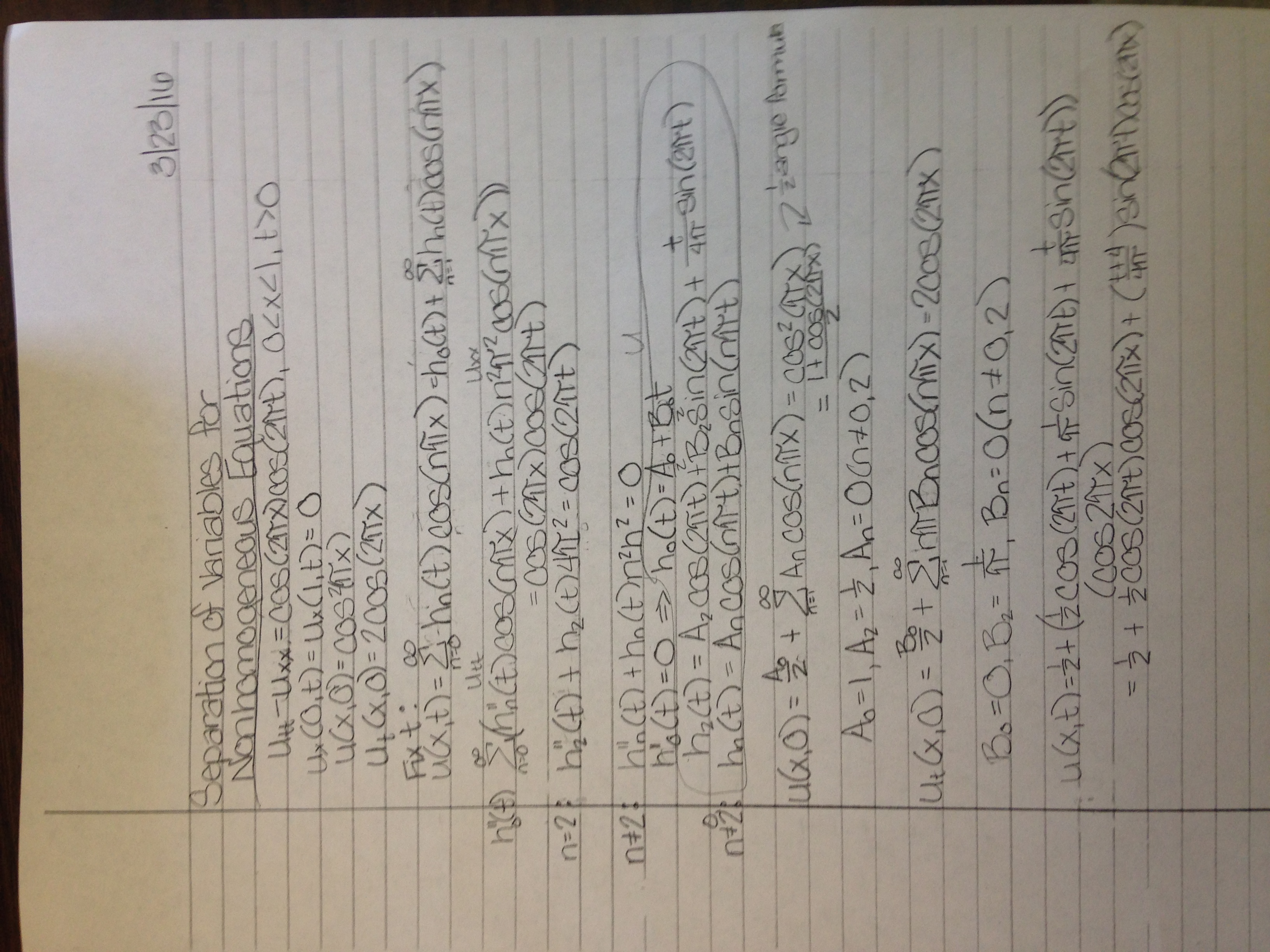differential equations by separation of variables homework